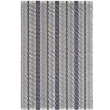 Navy Stripe Herringbone Cotton Rug