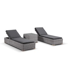 3 Piece Breeze Half Round PE Wicker Sun Lounge Set