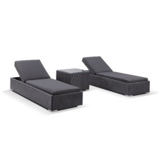 3 Piece Breeze Flat PE Wicker Sun Lounge Set
