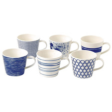 6 Piece Blue Pacific by Royal Doulton 300ml Porcelain Mug Set