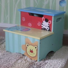 Hand painted Boy Animal Step Stool Storage Box