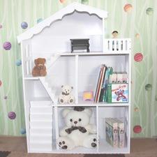 Kids Dollhouse Bookcase Book Shelf Storage Unit