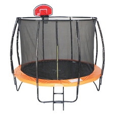 All 4 Kids 6 Pole Trampoline with Safety Net & Basketball Board