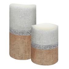 Duo Rustic Gold & Silver Linen Textured Finish LED Wax Pillars with Timer