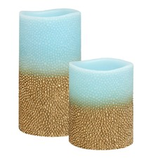 Duo Sea Blue & Rustic Gold Embossed Flameless LED Wax Candles with Timer