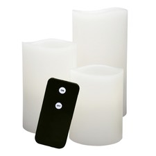 Classic Ivory Smooth Wax Pillars with Remote (Set of 3)