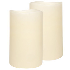 Duo Everyday Neutrals LED Wax Pillars with Timer (Set of 2)