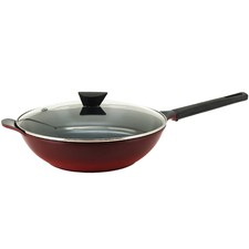 34cm Red Amie Wok Pan with Glass Lid