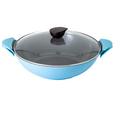 Amie Cyan 36cm Induction 2 Handle Wok & Glass Lid
