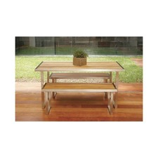 Plantation Teak & Steel Dining Table