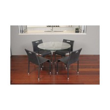 Glass & Steel Round Dining Table