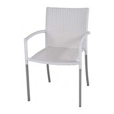 Olivia Dining Chair in White with Arms