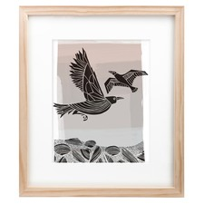Crow & Seagull Black Framed Print