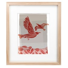 Crow & Seagull Red Framed Print