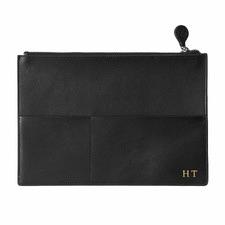Black Personalised Leather Document Holder
