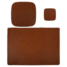 3 Piece Tan Artisan Leather Starter Desk Set