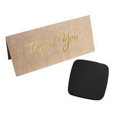 2 Piece Leather Coaster & Thank You Card Set