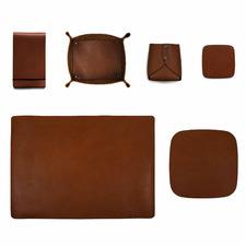 6 Piece Tan Artisan Leather Complete Desk Set