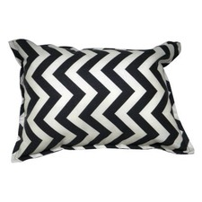Noire and Ivoire Chevron Accent Pillow