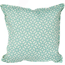 Aqua & Ivory Geometric Indoor/Outdoor Cushion