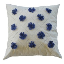 Blue Pom Pom Cushion