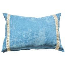 Blue Greek Key Velvet Lumber Cushion