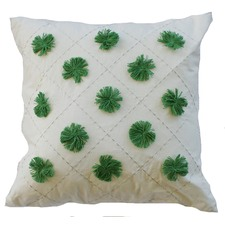 Green Pom Pom Cushion