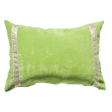 Green Greek Key Velvet Lumber Cushion