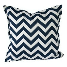Navy & Ivory Chevron Indoor Outdoor Cushion
