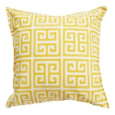 Yellow & White Greek Key Indoor Outdoor Cushion