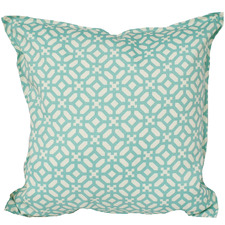 Aqua & Ivory Geometric Outdoor Cushion