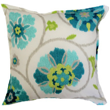Aqua Floral Ikat Outdoor Cushion