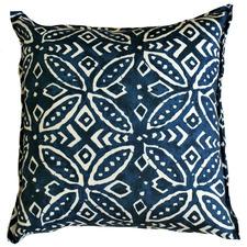 Deep Blue Batik Geometric Outdoor Cushion