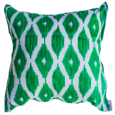 Green & White Ikat Cotton Cushion