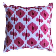 White & Pink Ikat Cotton Cushion