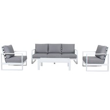 5 Seater White Ibiza Outdoor Lounge & Coffee Table Set