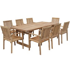 8 Seater Turin Teak Outdoor Dining Table Set