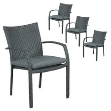 Soul PE Wicker Stackable Outdoor Dining Chairs (Set of 4)