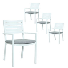 White Jackson Stackable Outdoor Sling Dining Chairs (Set of 4)