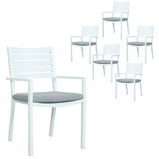 White Jackson Stackable Outdoor Sling Dining Chairs (Set of 6)