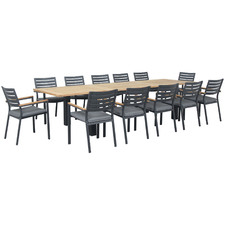 12 Seater Cyprus Teak & Aluminium Outdoor Extendable Dining Set
