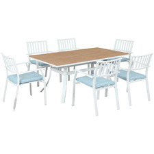 6 Seater City Wood & Metal Outdoor Dining Set