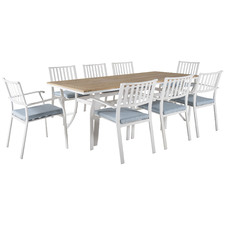 8 Seater City Wood & Metal Outdoor Dining Set