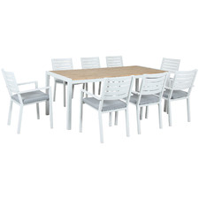 8 Seater Hazel Wood & Metal Outdoor Dining Set