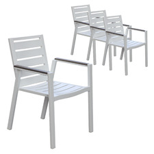 White Aprylle Aluminium Outdoor Dining Chairs (Set of 4)