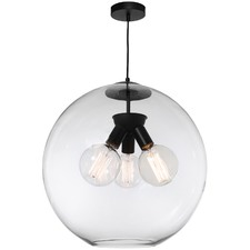 Clear & Black Orpheus 3 Light Pendant