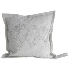 Globe Map Canvas Cushion