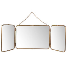 Brass Antique 3 Panel Glass Mirror