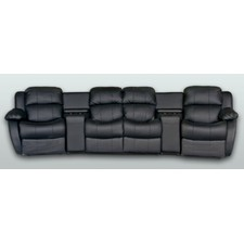 Leather 4 Seater Home Theatre Entertainment Lounge Suite with 2 Recliner