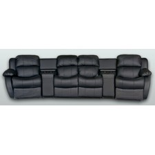 Leather 4 Seater Home Theatre Entertainment Lounge Suite with 4 Recliner